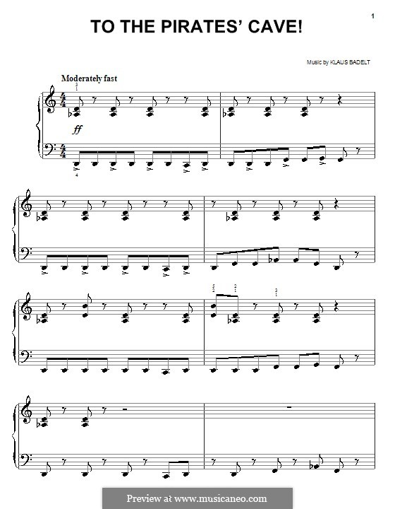 To the Pirate's Cave! (from Pirates of the Caribbean: The Curse of the Black Pearl): Facil para o piano by Klaus Badelt