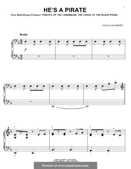 He's a Pirate (from Pirates of the Caribbean: The Curse of the Black Pearl): Facil para o piano by Klaus Badelt