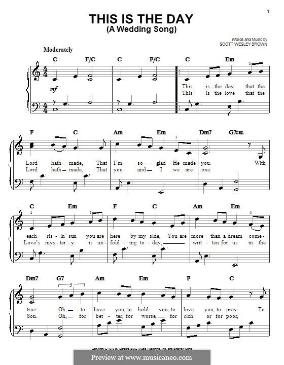 This Is the Day (A Wedding Song): Facil para o piano by Scott Wesley Brown