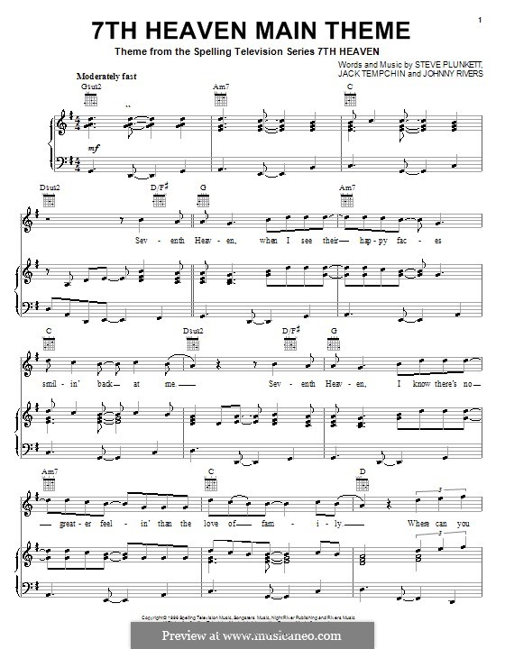 7th Heaven Main Theme (Steve Plunkett): Para vocais e piano (ou Guitarra) by Jack Tempchin, Johnny Rivers