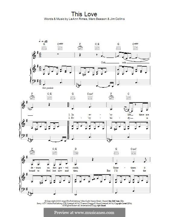 This Love (LeAnn Rimes): Para vocais e piano (ou Guitarra) by Jim Collins, Marc Beeson