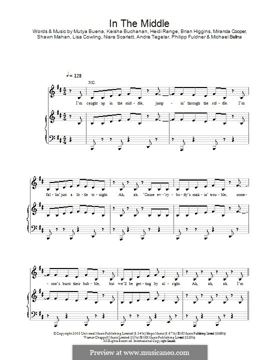 In the Middle (Sugababes): Para vocais e piano (ou Guitarra) by Heidi Range, Keisha Buchanan, Mutya Buena
