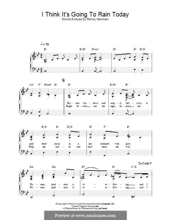 I Think it's Going to Rain Today (Katie Melua): Facil para o piano by Randy Newman