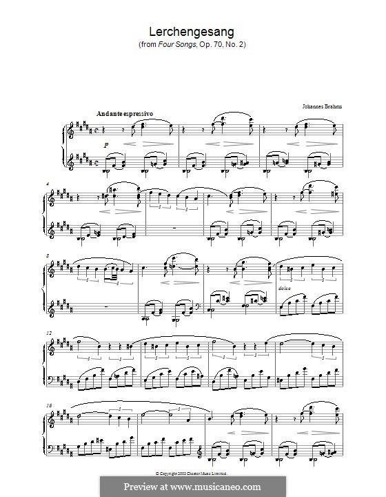 Four Songs, Op.70: No.2 Song of the Larks, for piano by Johannes Brahms