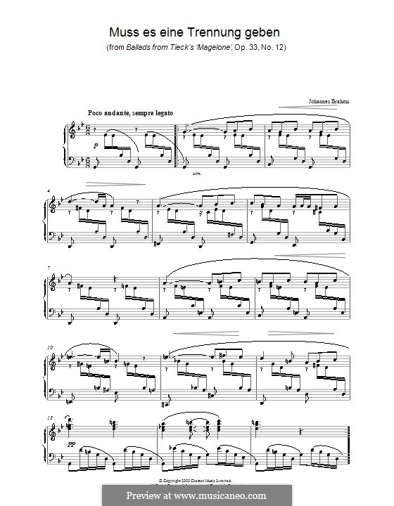 Fifteen Romances, Op.33: No.12 Must there Be a Parting, for piano by Johannes Brahms