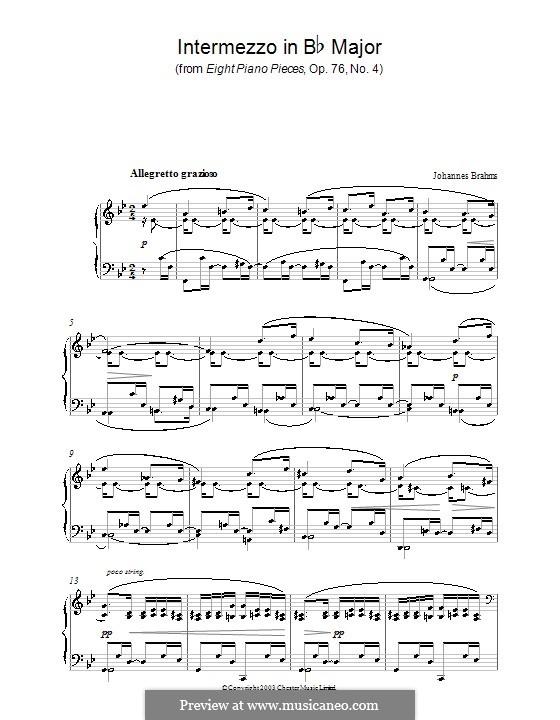 Eight Pieces, Op.76: No.4 Intermezzo in B Flat Major by Johannes Brahms