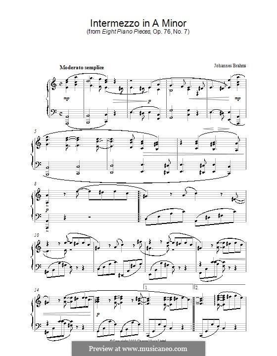 Eight Pieces, Op.76: No.7 Intermezzo in A Minor by Johannes Brahms