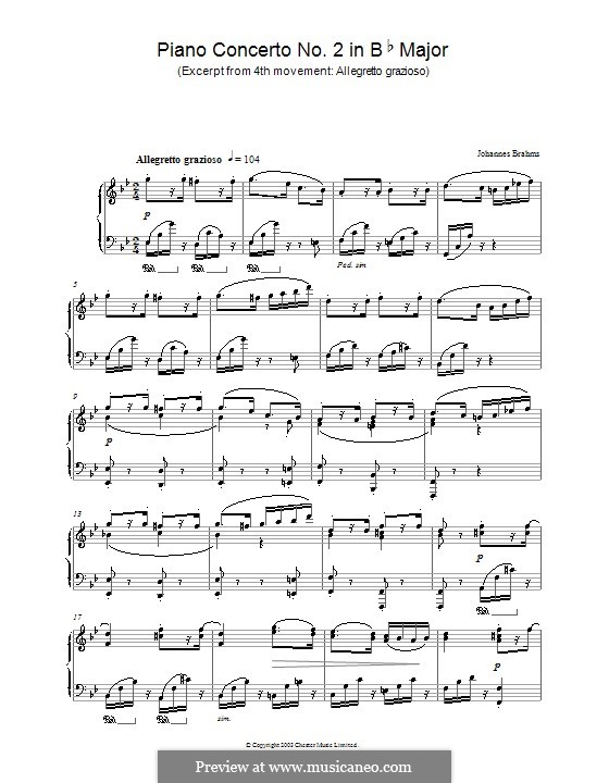 Concerto for Piano and Orchestra No.2 in B Flat Major, Op.83: Movement IV. Excerpt for piano by Johannes Brahms