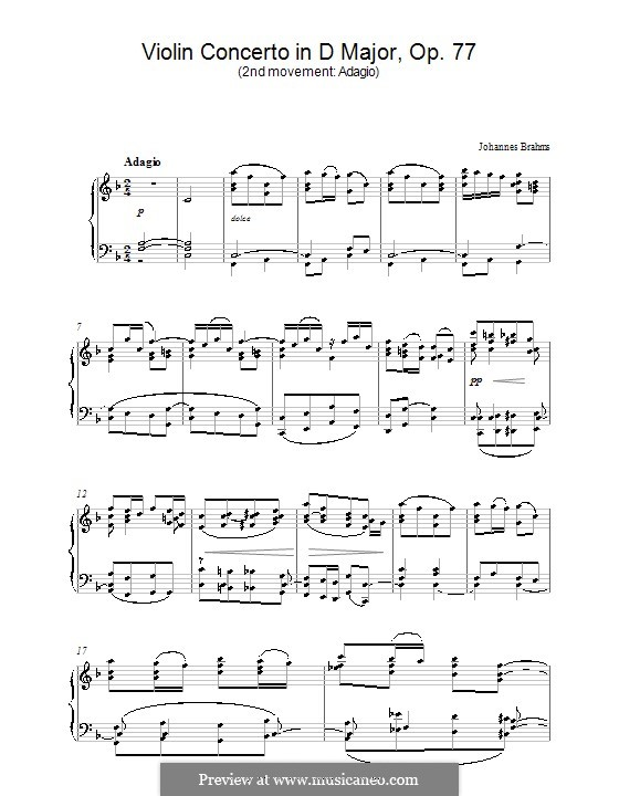 Concerto for Violin and Orchestra in D Major, Op.77: movimento II, versão para piano by Johannes Brahms