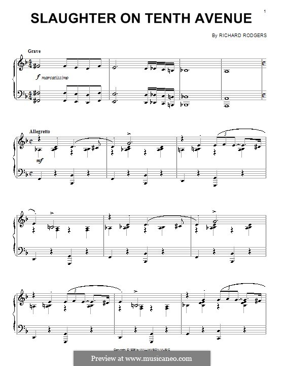 Slaughter on Tenth Avenue: Para Piano by Richard Rodgers