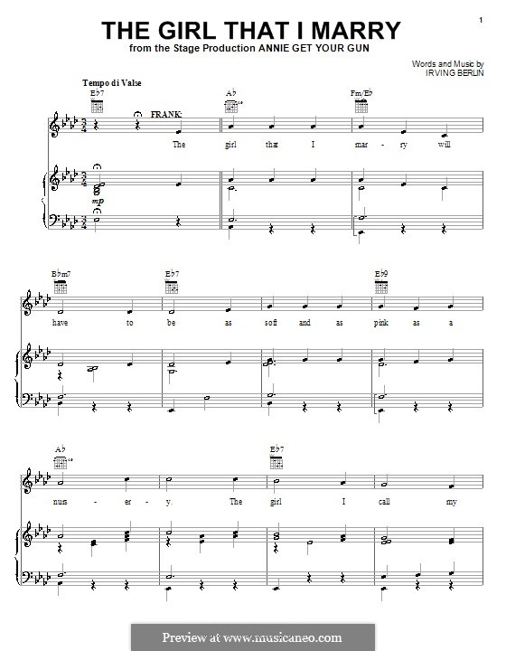 The Girl That I Marry: Para vocais e piano (ou Guitarra) by Irving Berlin