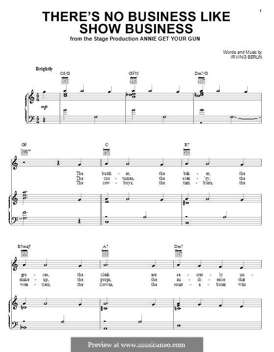 There's No Business Like Show Business (Ethel Merman): Para vocais e piano (ou Guitarra) by Irving Berlin