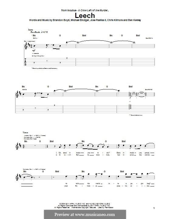Leech (Incubus): Para guitarra com guia by Brandon Boyd, Jose Pasillas II, Michael Einziger