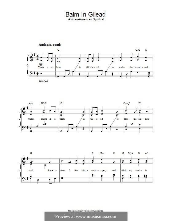Balm in Gilead: Para vocais e piano by folklore