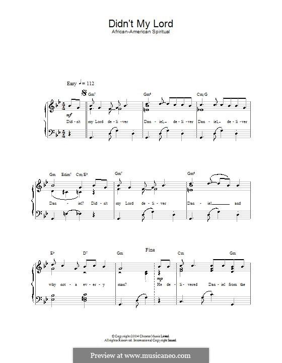 Didn't My Lord Deliver Daniel?: Para vocais e piano by folklore