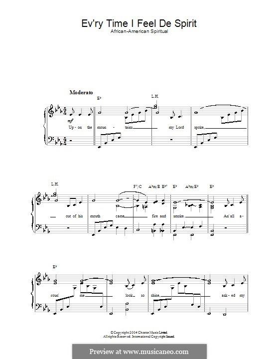 Every Time I Feel the Spirit: Para vocais e piano by folklore