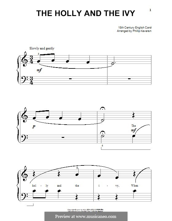 The Holly and the Ivy, for Piano: versão muito facil by folklore