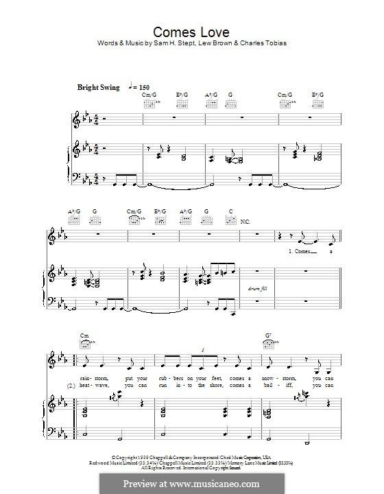 Comes Love (Stacey Kent): Para vocais e piano (ou Guitarra) by Sam H. Stept, Charles Tobias, Lew Brown