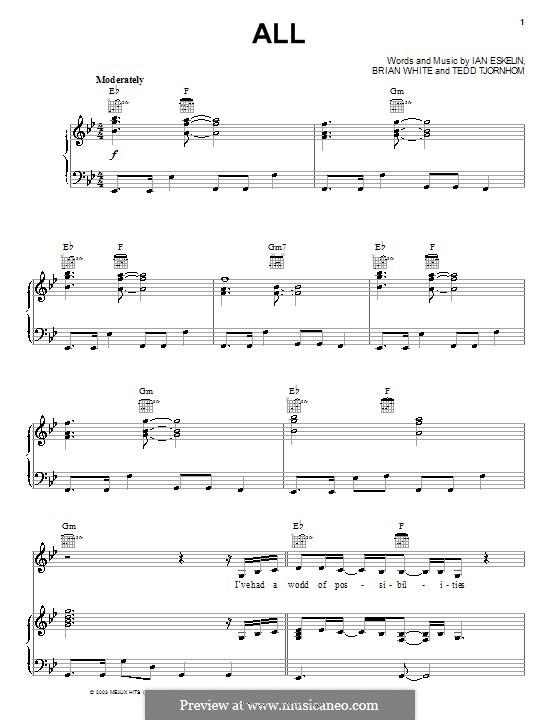 All (Avalon): Para vocais e piano (ou Guitarra) by Brian Gene White, Ian Eskelin, Tedd Tjornhom