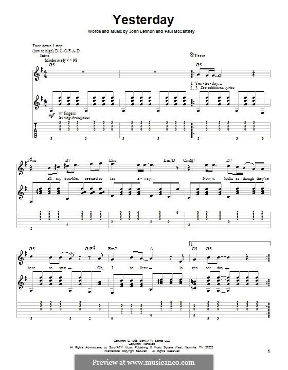 Yesterday (The Beatles): para guitarra com guia (G maior) by John Lennon, Paul McCartney