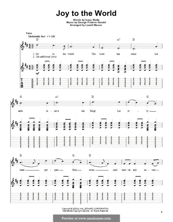Joy to the World (Printable Scores): Para Guitarra by Georg Friedrich Händel