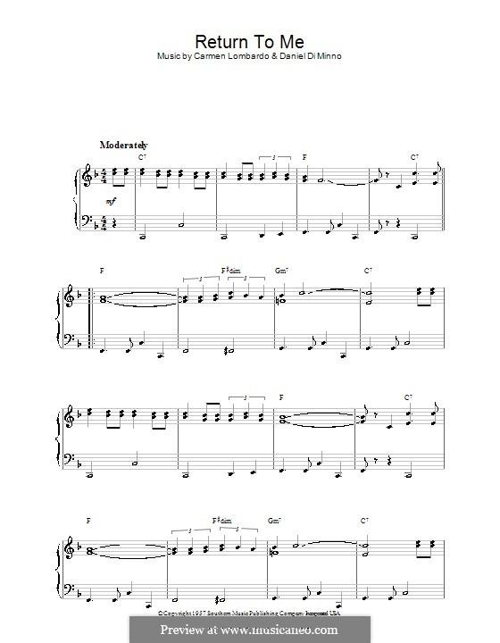 Return To Me (Dean Martin): Para Piano by Carmen Lombardo, Danny Di Minno