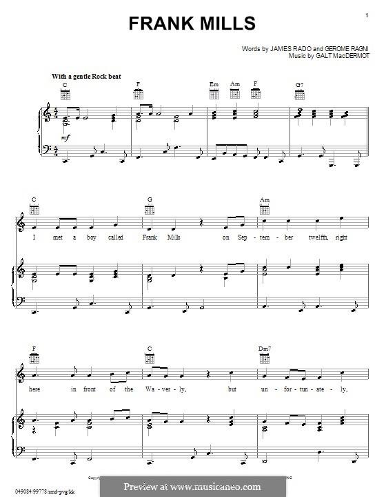 Frank Mills: Para vocais e piano (ou Guitarra) by Galt MacDermot