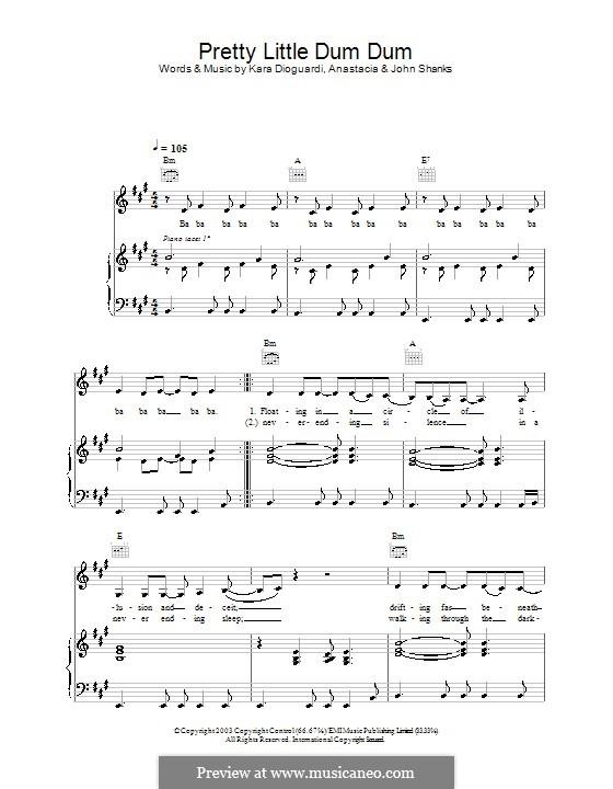 Pretty Little Dum Dum (Anastacia): Para vocais e piano (ou Guitarra) by John M Shanks, Kara DioGuardi