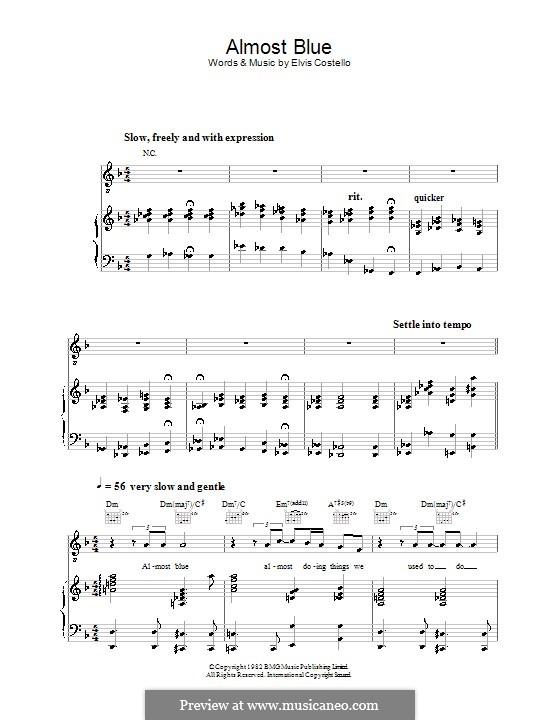 Almost Blue (Diana Krall): Para vocais e piano (ou Guitarra) by Elvis Costello