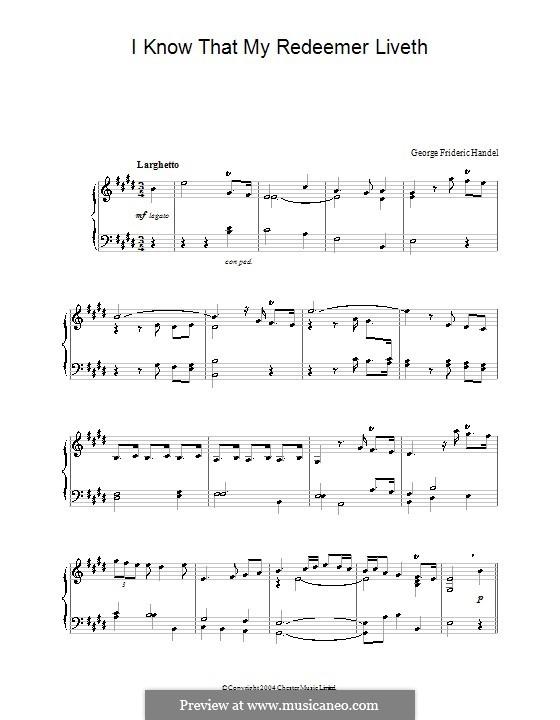 No.45 I Know That My Redeemer Liveth: Para Piano by Georg Friedrich Händel