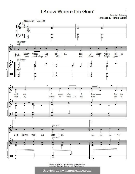 I Know Where I'm Goin': Para vocais e piano (ou Guitarra) by folklore