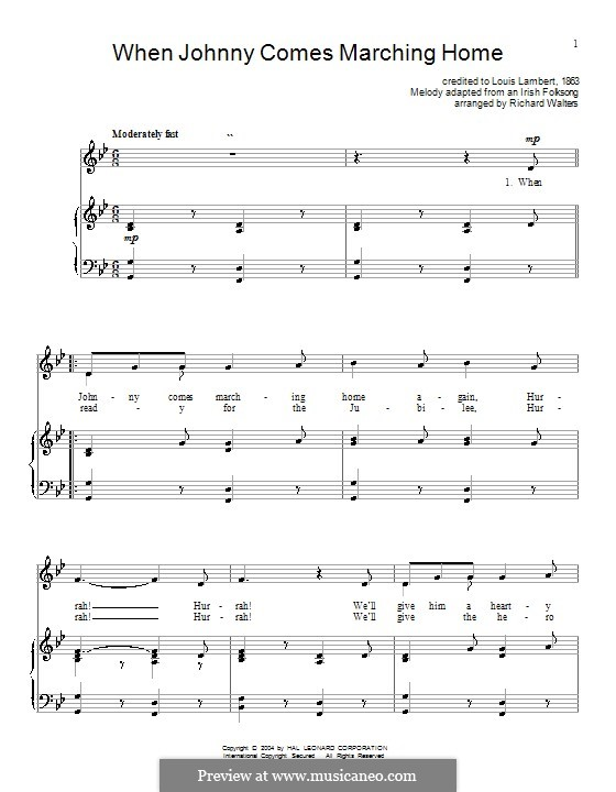When Johnny Comes Marching Home: Para vocais e piano (ou Guitarra) by Patrick Sarsfield Gilmore