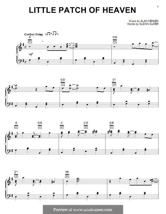 Little Patch of Heaven (from Home on the Range): Para vocais e piano (ou Guitarra) by Alan Menken