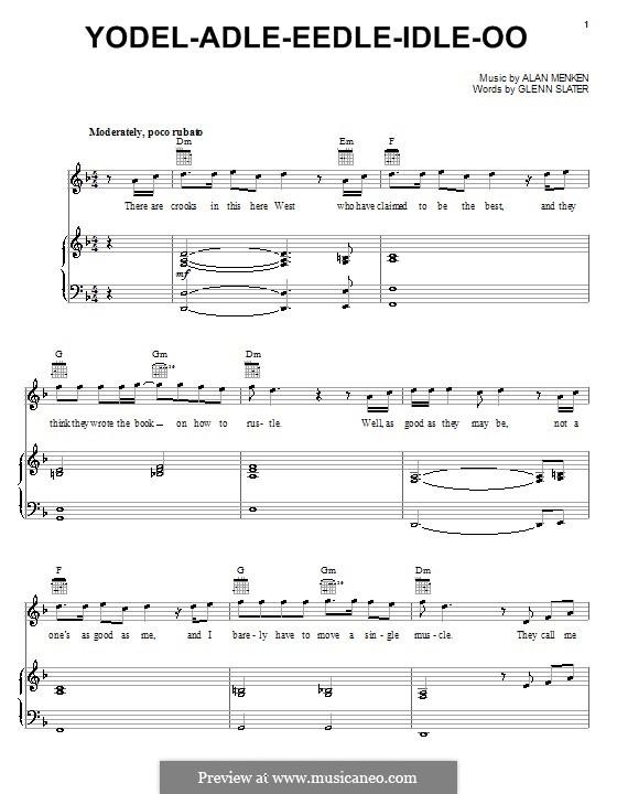Yodel-Adle-Eedle-Idle-Oo (from Home on the Range): Para vocais e piano (ou Guitarra) by Alan Menken