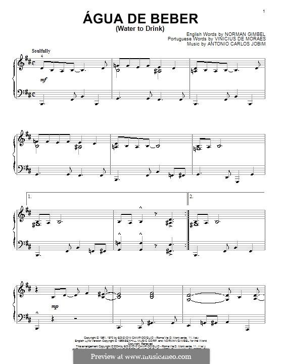 Agua de Beber (Water To Drink): Para Piano by Antonio Carlos Jobim
