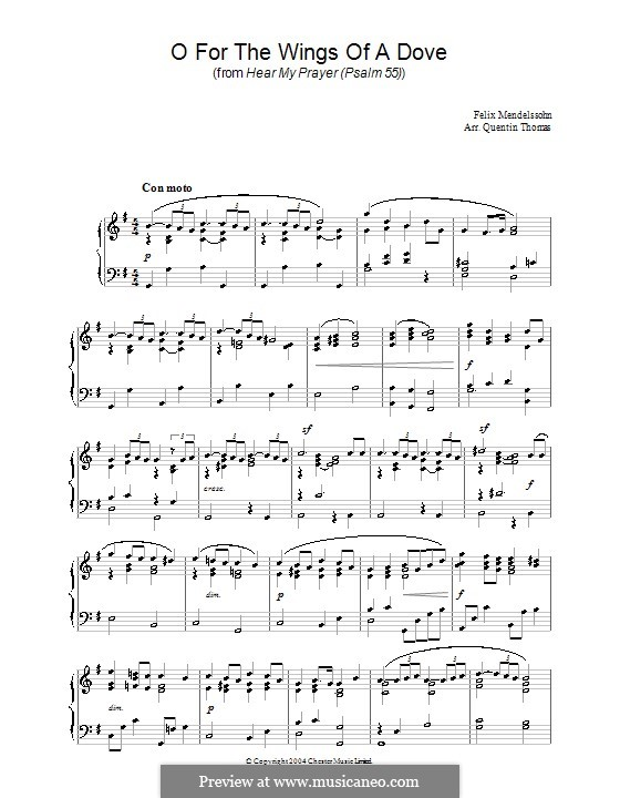 Hör mein Bitten (Hear My Prayer), WoO 15: O for the Wings of a Dove, for piano by Felix Mendelssohn-Bartholdy