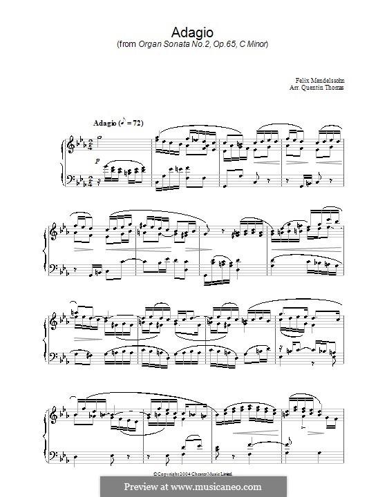 Sonatas for Organ, Op.65: Sonata No.2. Adagio. Version for piano by Felix Mendelssohn-Bartholdy