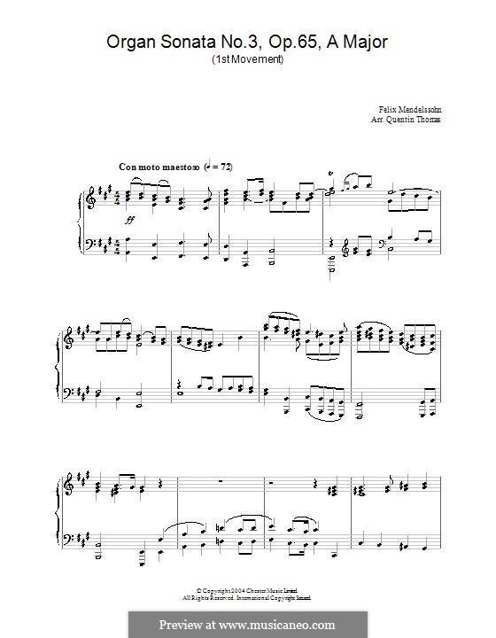 Sonatas for Organ, Op.65: Sonata No.3. Movement I by Felix Mendelssohn-Bartholdy