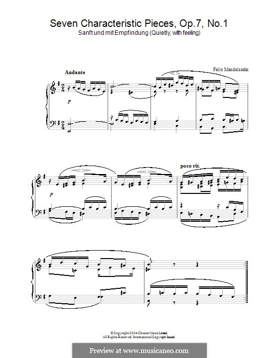 Seven Characteristic Pieces, Op.7: peça No.1 by Felix Mendelssohn-Bartholdy