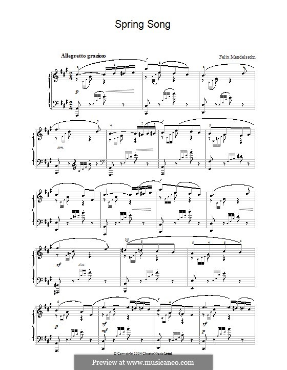 Songs without Words, Op.62: No.6 Spring Song by Felix Mendelssohn-Bartholdy