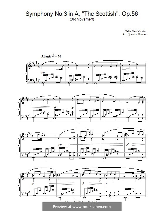Symphony No.3 in A Minor 'Scottish', Op.56: Movement III (Fragment). Version for piano by Felix Mendelssohn-Bartholdy