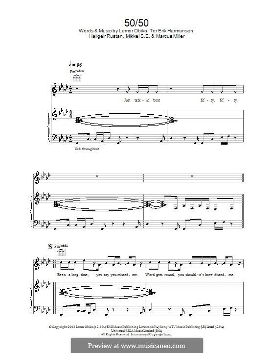 50/50 (Lemar): Para vocais e piano (ou Guitarra) by Hallgeir Rustan, Lemar Obika, Tor Erik Hermansen
