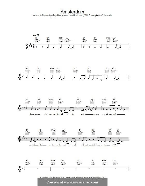 Amsterdam (Coldplay): melodía,letras e acordes by Chris Martin, Guy Berryman, Jonny Buckland, Will Champion