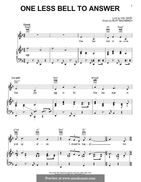 One Less Bell to Answer: Para vocais e piano (ou Guitarra) by Burt Bacharach