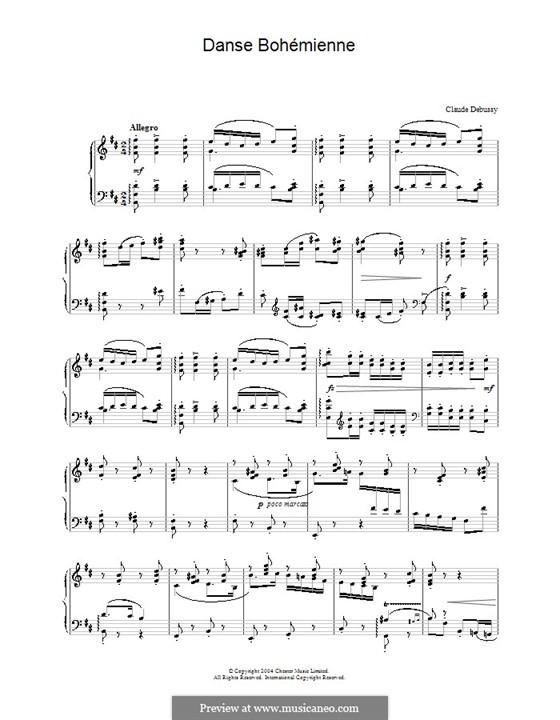 Danse bohémienne, L.9: Para Piano by Claude Debussy