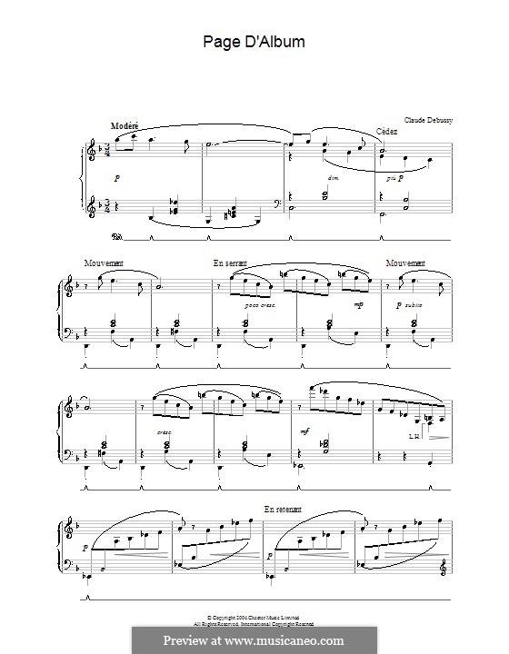 Page d'album: Page d'album by Claude Debussy