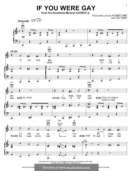 If You Were Gay (Avenue Q): Para vocais e piano (ou Guitarra) by Jeff Marx, Robert Lopez