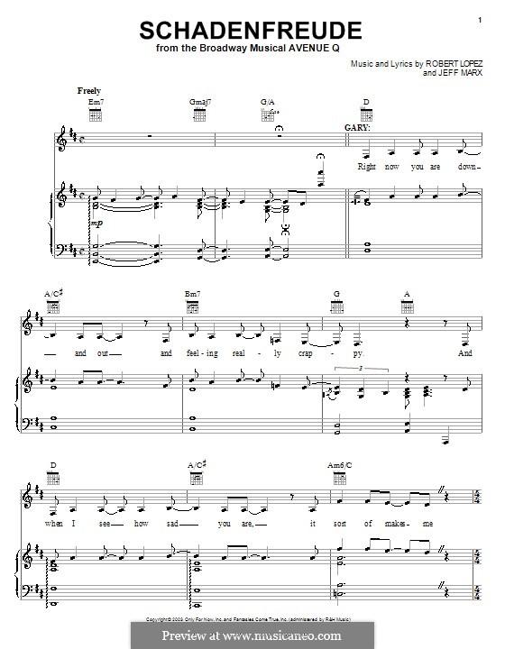 Schadenfreude (Avenue Q): Para vocais e piano (ou Guitarra) by Jeff Marx, Robert Lopez