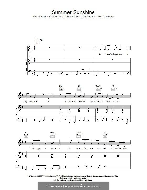 Summer Sunshine (The Corrs): Para vocais e piano (ou Guitarra) by Andrea Corr, Caroline Corr, Jim Corr, Sharon Corr