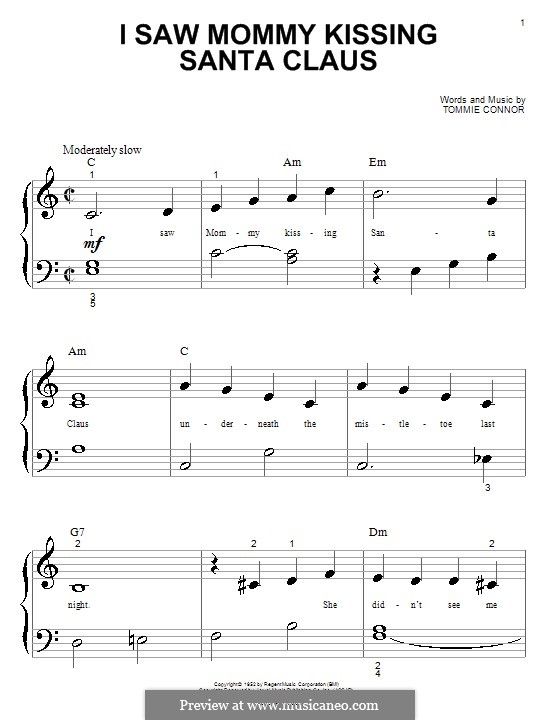 I Saw Mommy Kissing Santa Claus, for Piano: Very easy version (big notes) by Tommie Connor